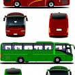 Two city buses. Tourist coach. Vector illustration for designers - Stock Vector
