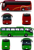 Two city buses. Tourist coach. Vector illustration for designers — Stock Vector