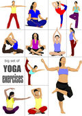 Big set of Yoga exercises - vector poster — Stock Vector