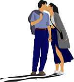Kissing Couple vector illustration — Stock Vector