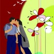 Flower background with kissing couple. Vector illustration — Stock Vector