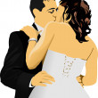 Stock Vector: Kissing Couple. Bride and Groom. vector illustration