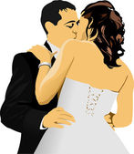 Kissing Couple. Bride and Groom. vector illustration — Stock Vector