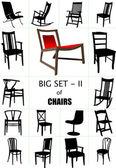 Gran set de siluetas de silla casera. ilustración vectorial — Vector de stock
