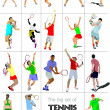Big cet # II of tennis players. Colored Vector illustration for — Stock Vector #9121019