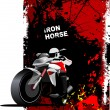 Grunge red background with motorcycle image. Iron horse. Vector — Stock vektor