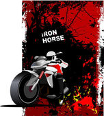 Grunge red background with motorcycle image. Iron horse. Vector — Stock Vector
