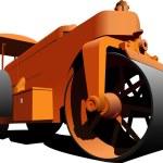 Road asphalt roller. Vector illustration — Stock Vector