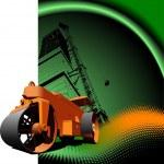 Road asphalt roller on green background. Vector illustration — Stock Vector