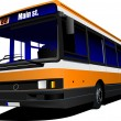 City bus on the road. Vector illustration - Image vectorielle