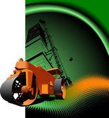 каток дорожный асфальт на зеленом фоне. векторные иллюстрации — Cтоковый вектор