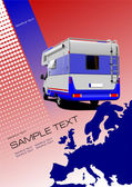 Cover for brochure or template with Europe silhouette and camper — Stock Vector