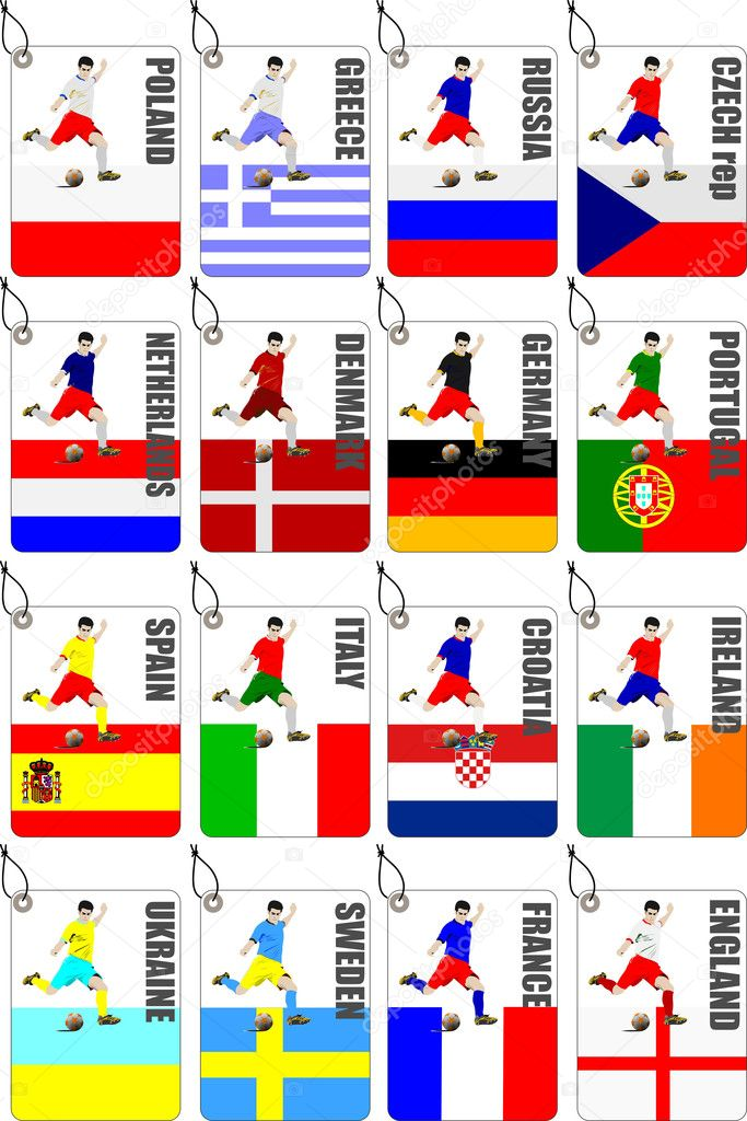 Soccer (football) Europe championship 2012. All tables labels — Stock Vector #9722404