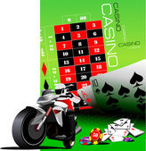 Casino elements with sport motorcycle image. Vector illustration — Stock Vector