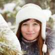 Girl in wintry pine  forest - Stock Photo