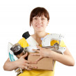 Girl with household appliances — Stock Photo