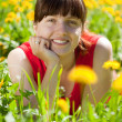 Foto Stock: Happy womin meadow