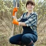 Happy female farmer with spade — Stock Photo #10519987