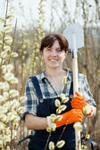 Female farmer with shovel — Stock Photo