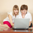 Stock Photo: Wonder women with laptop