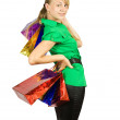 Girl with shopping bags — Stock fotografie