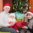 Happy family near Christmas tree — Stock Photo #10528409