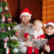 Family for Christmas portrait — Stock Photo