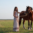 Pretty   woman near horse — Foto Stock