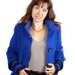 Woman in blue coat — Stock Photo