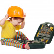 Stock Photo: Toddler in hardhat with tool box. Isolated over white