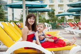 Mother with toddler at resort — Stock Photo