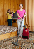 Women are cleans in home — Stock Photo