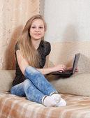 Girl with laptop — Stock fotografie