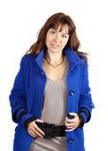 Woman in blue coat — Stock Photo