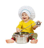 Baby cook with pan. Isolated over white — Stock Photo