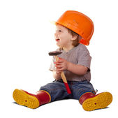 Toddler in hardhat with hammer. Isolated over white — Stock Photo