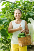 Happy woman with cucumbers — Stock Photo