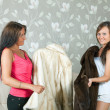Women  make boast of fur coats — Stok fotoğraf