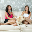 Women with  labrador retriever in home — Stok fotoğraf