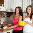 Women cooking at them kitchen — Stok fotoğraf