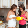 Women cooking at them kitchen — Stock Photo