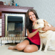 Woman with  Labrador retriever - Foto Stock