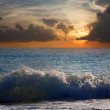 Sea wave in sunset time — Stock Photo