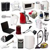 Conjunto de aparatos electrodomésticos. aislado en blanco — Foto de Stock