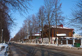 Street at Suzdal in winter — Stok fotoğraf