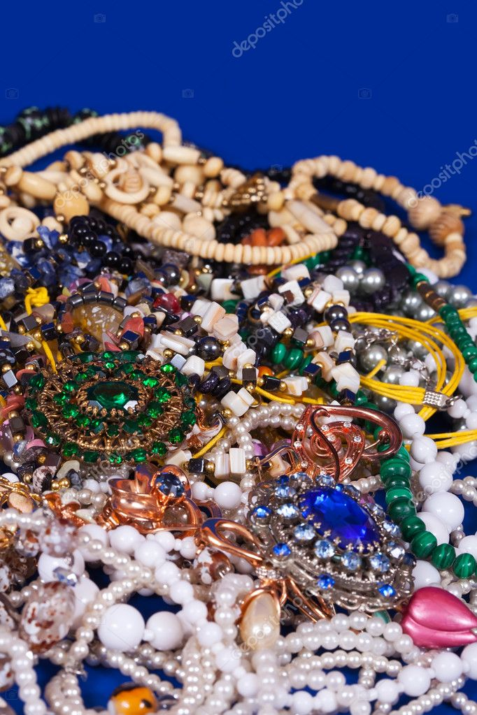 Close up of many differently jewellery background — Stock Photo #10531013