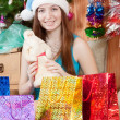 Girl  christmas gifts - Foto de Stock