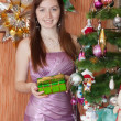 Girl  with christmas gift - Stok fotoğraf