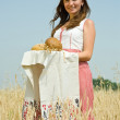 Girl with bread at field — ストック写真 #8094651
