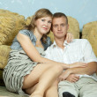 Couple in home interior — Foto de stock #8136100